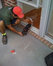 Pet door installation in Port Melbourne by Ometek Glass