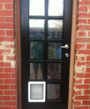 Pet door installation in Windsor by Ometek Glass